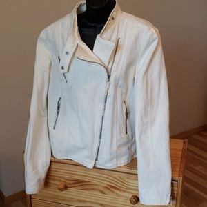 NWOT white denim Mango moto jacket Sz L